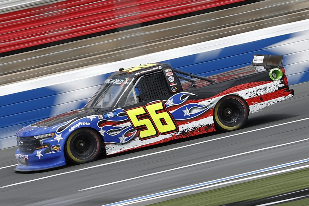 CONCORD, NORTH CAROLINA - MAY 28: Timmy Hill, driver of the #56 Hill Motorsports Chevrolet, drives during practice for the NASCAR Camping World Truck Series North Carolina Education Lottery 200 at Charlotte Motor Speedway on May 28, 2021 in Concord, North Carolina. (Photo by Maddie Meyer/Getty Images) | Getty Images