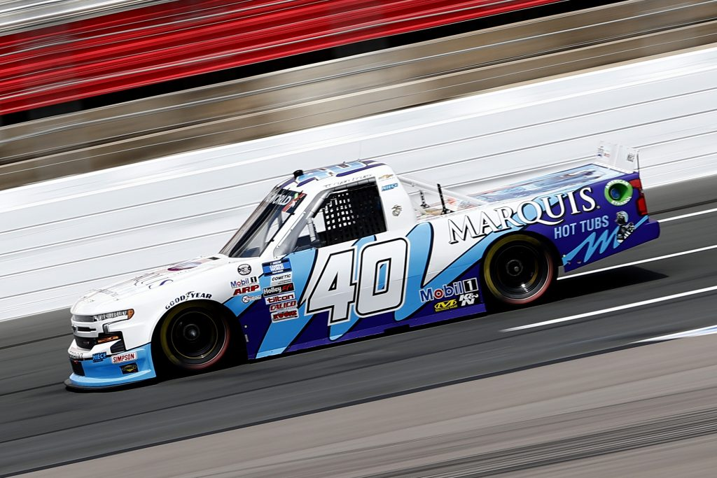 CONCORD, NORTH CAROLINA - MAY 28: Ryan Truex, driver of the #40 Marquis Spas Chevrolet, drives during practice for the NASCAR Camping World Truck Series North Carolina Education Lottery 200 at Charlotte Motor Speedway on May 28, 2021 in Concord, North Carolina. (Photo by Maddie Meyer/Getty Images) | Getty Images