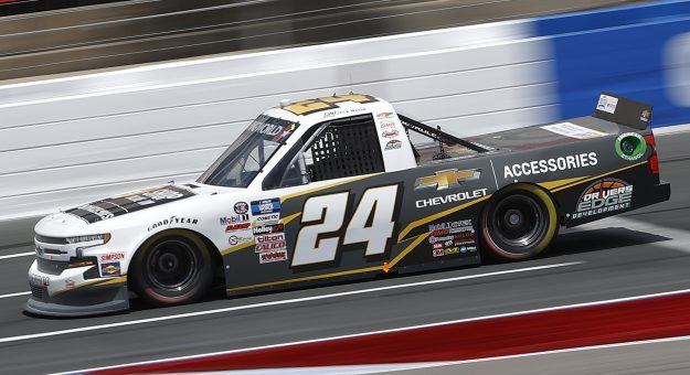 CONCORD, NORTH CAROLINA - MAY 28: Jack Wood, driver of the #24 Chevy Accessories Chevrolet, drives during practice for the NASCAR Camping World Truck Series North Carolina Education Lottery 200 at Charlotte Motor Speedway on May 28, 2021 in Concord, North Carolina. (Photo by Maddie Meyer/Getty Images) | Getty Images