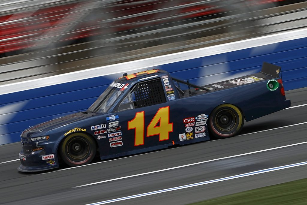 CONCORD, NORTH CAROLINA - MAY 28: Trey Hutchens III, driver of the #14 Heintz Bros. Performance Chevrolet, drives during practice for the NASCAR Camping World Truck Series North Carolina Education Lottery 200 at Charlotte Motor Speedway on May 28, 2021 in Concord, North Carolina. (Photo by Maddie Meyer/Getty Images) | Getty Images