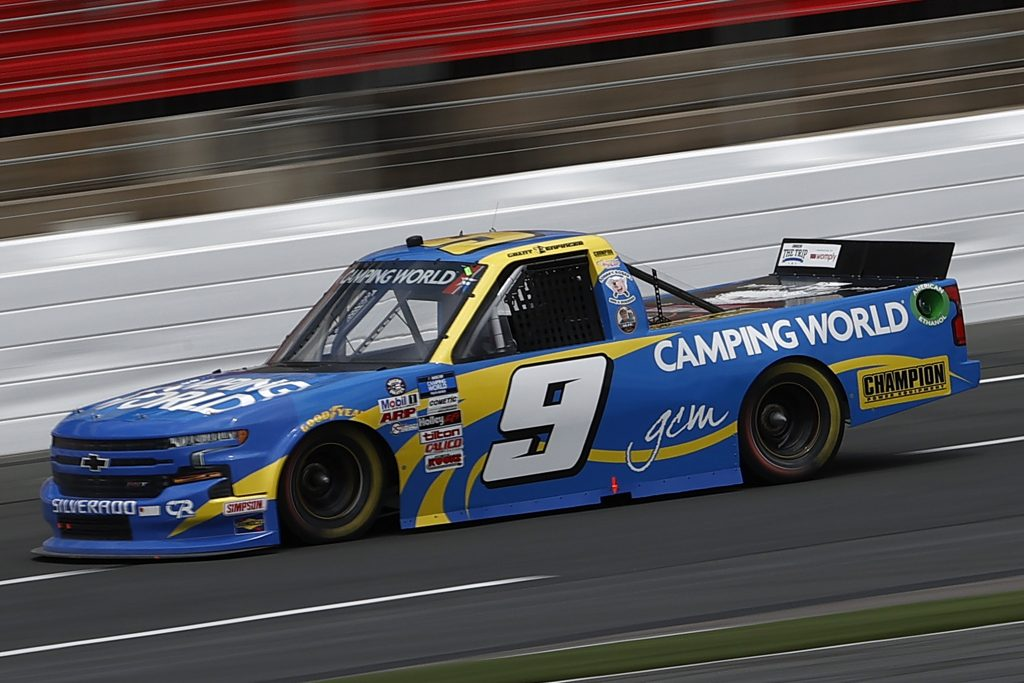 CONCORD, NORTH CAROLINA - MAY 28: Grant Enfinger, driver of the #9 Camping World Chevrolet, drives during practice for the NASCAR Camping World Truck Series North Carolina Education Lottery 200 at Charlotte Motor Speedway on May 28, 2021 in Concord, North Carolina. (Photo by Maddie Meyer/Getty Images) | Getty Images