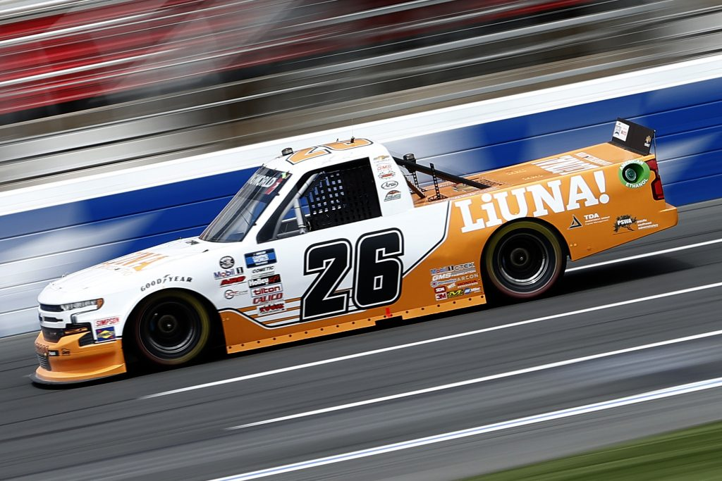 CONCORD, NORTH CAROLINA - MAY 28: Tyler Ankrum, driver of the #26 LiUNA! Chevrolet, drives during practice for the NASCAR Camping World Truck Series North Carolina Education Lottery 200 at Charlotte Motor Speedway on May 28, 2021 in Concord, North Carolina. (Photo by Maddie Meyer/Getty Images) | Getty Images