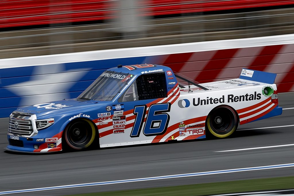 CONCORD, NORTH CAROLINA - MAY 28: Austin Hill, driver of the #16 United Rentals Toyota, drives during practice for the NASCAR Camping World Truck Series North Carolina Education Lottery 200 at Charlotte Motor Speedway on May 28, 2021 in Concord, North Carolina. (Photo by Maddie Meyer/Getty Images) | Getty Images