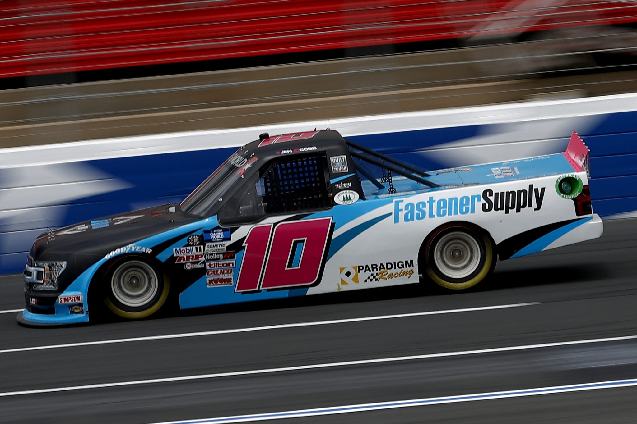 CONCORD, NORTH CAROLINA - MAY 28: Jennifer Jo Cobb, driver of the #10 Fastener Supply Company Chevrolet, drives during practice for the NASCAR Camping World Truck Series North Carolina Education Lottery 200 at Charlotte Motor Speedway on May 28, 2021 in Concord, North Carolina. (Photo by Maddie Meyer/Getty Images)   Getty Images