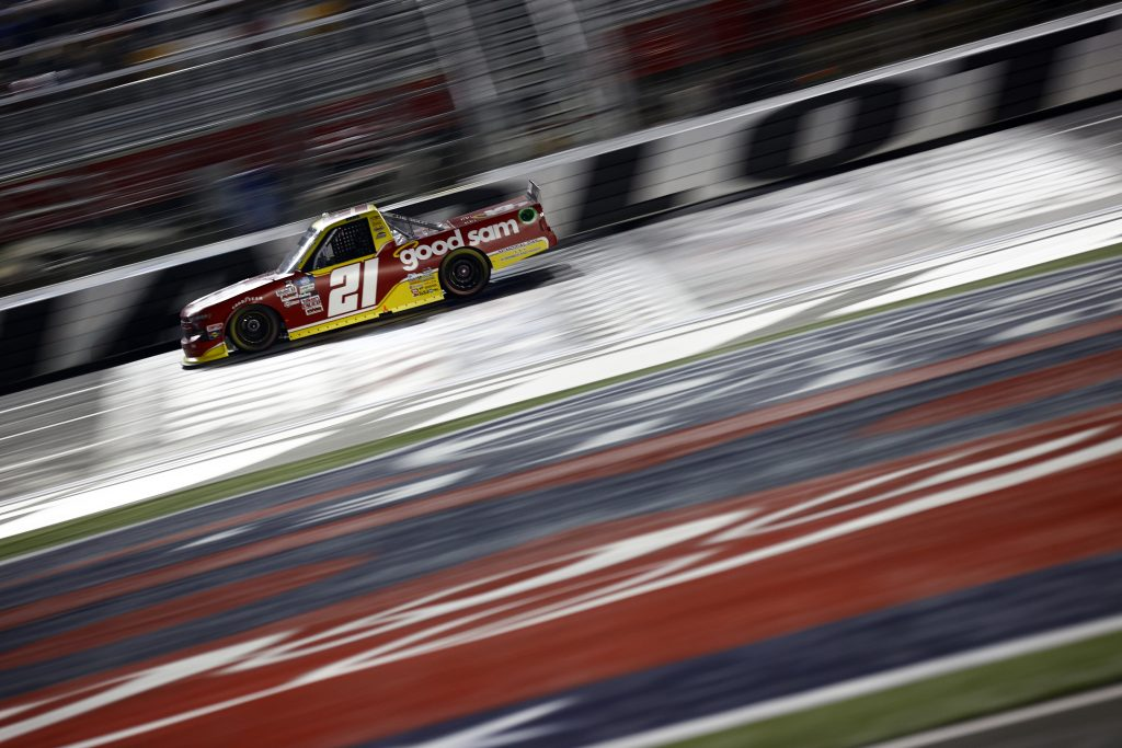 CONCORD, NORTH CAROLINA - MAY 28: Zane Smith, driver of the #21 Good Sam Chevrolet, drives during the NASCAR Camping World Truck Series North Carolina Education Lottery 200 at Charlotte Motor Speedway on May 28, 2021 in Concord, North Carolina. (Photo by Jared C. Tilton/Getty Images) | Getty Images