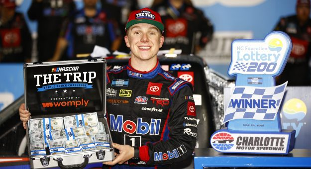 CONCORD, NORTH CAROLINA - MAY 28: John Hunter Nemechek, driver of the #4 Mobil 1 Toyota, celebrates in victory lane after winning the NASCAR Camping World Truck Series North Carolina Education Lottery 200 at Charlotte Motor Speedway on May 28, 2021 in Concord, North Carolina. (Photo by Jared C. Tilton/Getty Images) | Getty Images