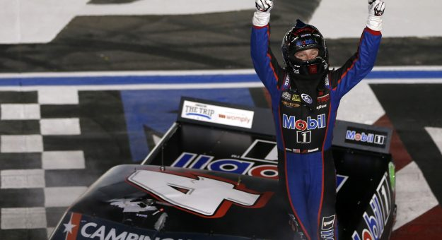 CONCORD, NORTH CAROLINA - MAY 28: John Hunter Nemechek, driver of the #4 Mobil 1 Toyota, celebrates after winning the NASCAR Camping World Truck Series North Carolina Education Lottery 200 at Charlotte Motor Speedway on May 28, 2021 in Concord, North Carolina. (Photo by Brian Lawdermilk/Getty Images) | Getty Images