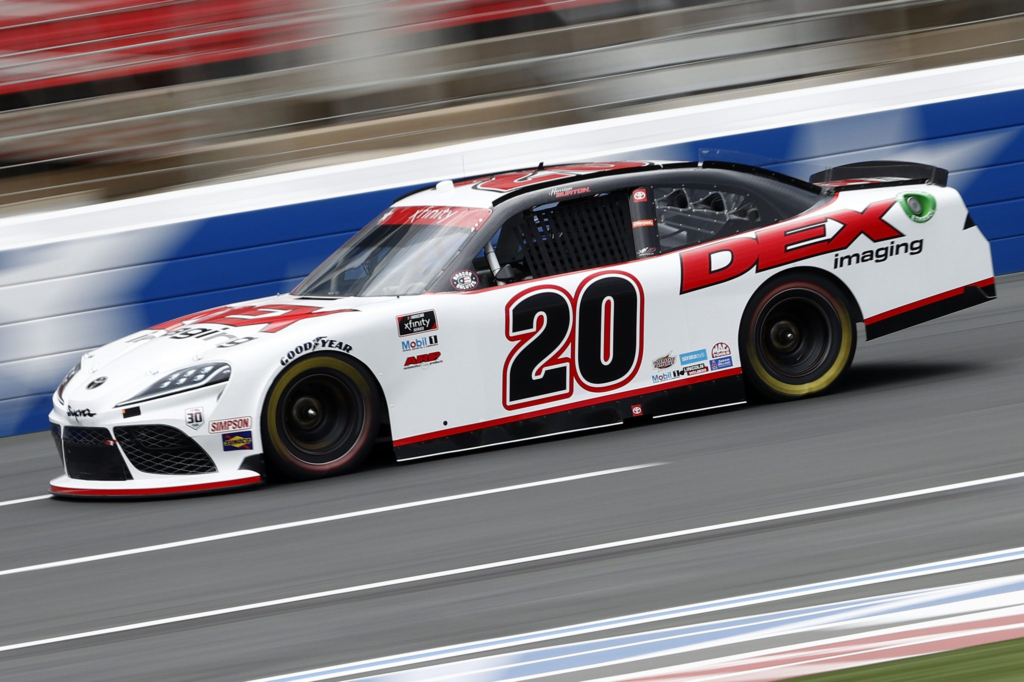 CONCORD, NORTH CAROLINA - MAY 28: Harrison Burton, driver of the #20 DEX Imaging Toyota, drives during practice for the NASCAR Xfinity Series Alsco Uniforms 300 at Charlotte Motor Speedway on May 28, 2021 in Concord, North Carolina. (Photo by Maddie Meyer/Getty Images) | Getty Images