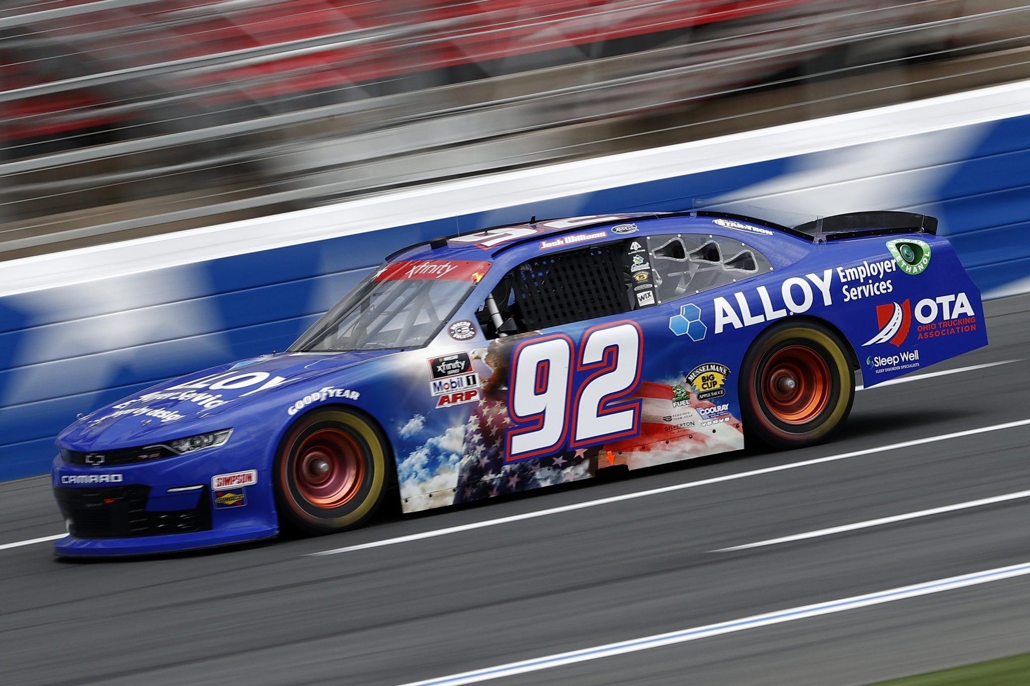 CONCORD, NORTH CAROLINA - MAY 28: Josh Williams, driver of the #92 Alloy Employer Services Chevrolet, drives during practice for the NASCAR Xfinity Series Alsco Uniforms 300 at Charlotte Motor Speedway on May 28, 2021 in Concord, North Carolina. (Photo by Maddie Meyer/Getty Images)   Getty Images