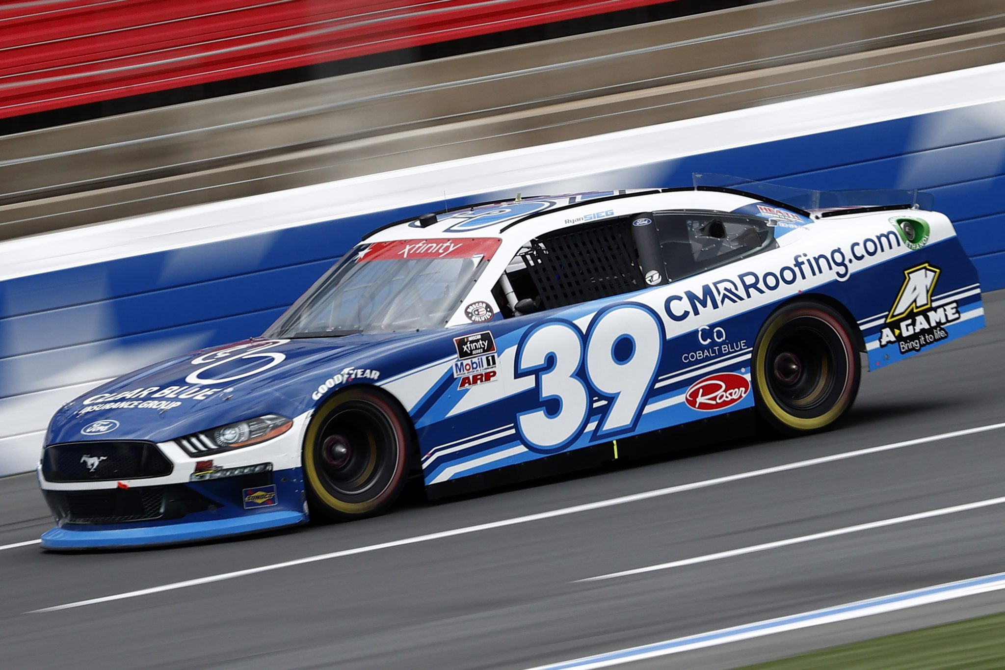 CONCORD, NORTH CAROLINA - MAY 28: Ryan Sieg, driver of the #39 CMR Construction and Roofing/A-Game Ford, drives during practice for the NASCAR Xfinity Series Alsco Uniforms 300 at Charlotte Motor Speedway on May 28, 2021 in Concord, North Carolina. (Photo by Maddie Meyer/Getty Images) | Getty Images
