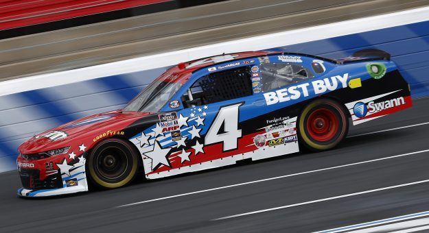 CONCORD, NORTH CAROLINA - MAY 28: Ryan Vargas, driver of the #4 Swann Security/Best Buy Chevrolet, drives during practice for the NASCAR Xfinity Series Alsco Uniforms 300 at Charlotte Motor Speedway on May 28, 2021 in Concord, North Carolina. (Photo by Maddie Meyer/Getty Images) | Getty Images