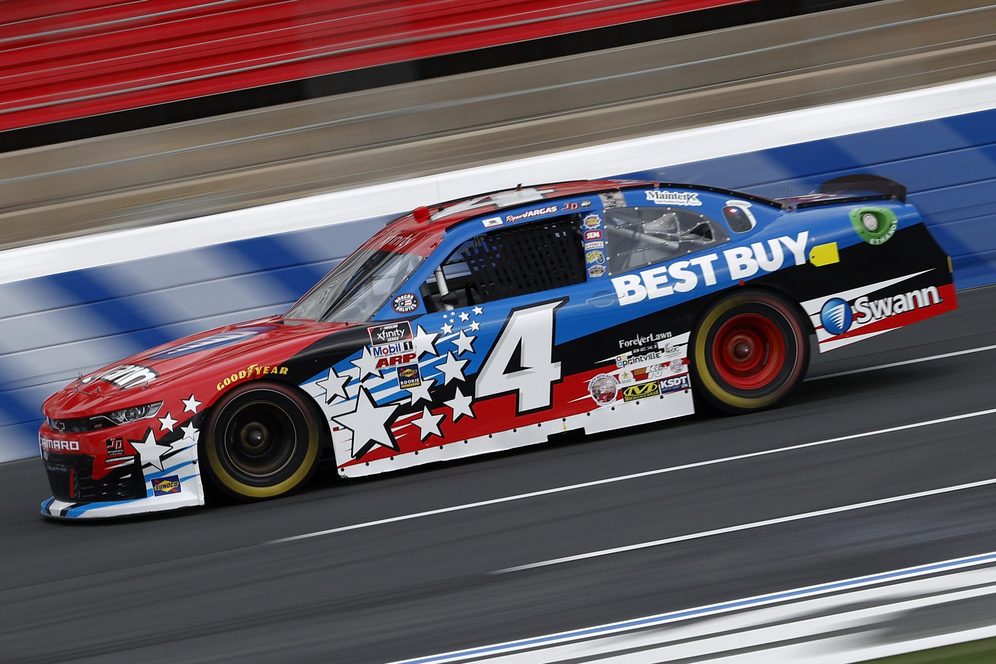 CONCORD, NORTH CAROLINA - MAY 28: Ryan Vargas, driver of the #4 Swann Security/Best Buy Chevrolet, drives during practice for the NASCAR Xfinity Series Alsco Uniforms 300 at Charlotte Motor Speedway on May 28, 2021 in Concord, North Carolina. (Photo by Maddie Meyer/Getty Images)   Getty Images