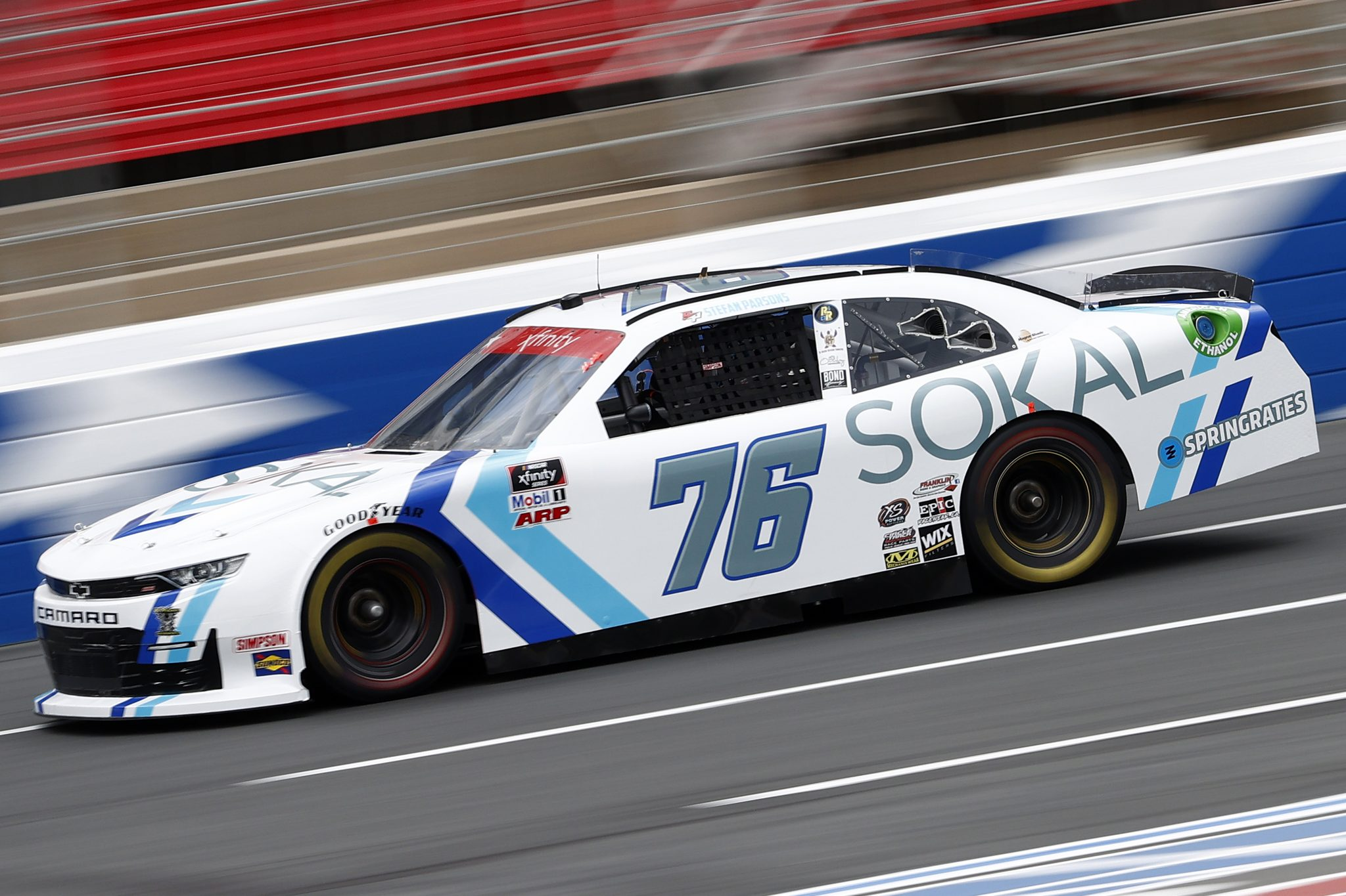 CONCORD, NORTH CAROLINA - MAY 28: Stefan Parsons, driver of the #76 SOKAL Digital Ford, drives during practice for the NASCAR Xfinity Series Alsco Uniforms 300 at Charlotte Motor Speedway on May 28, 2021 in Concord, North Carolina. (Photo by Maddie Meyer/Getty Images) | Getty Images