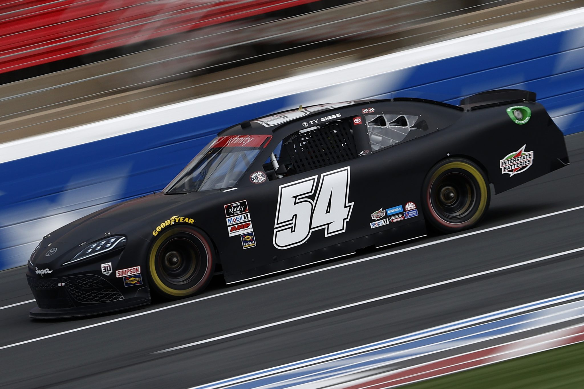 CONCORD, NORTH CAROLINA - MAY 28: Ty Gibbs, driver of the #54 Joe Gibbs Racing Toyota, drives during practice for the NASCAR Xfinity Series Alsco Uniforms 300 at Charlotte Motor Speedway on May 28, 2021 in Concord, North Carolina. (Photo by Maddie Meyer/Getty Images) | Getty Images