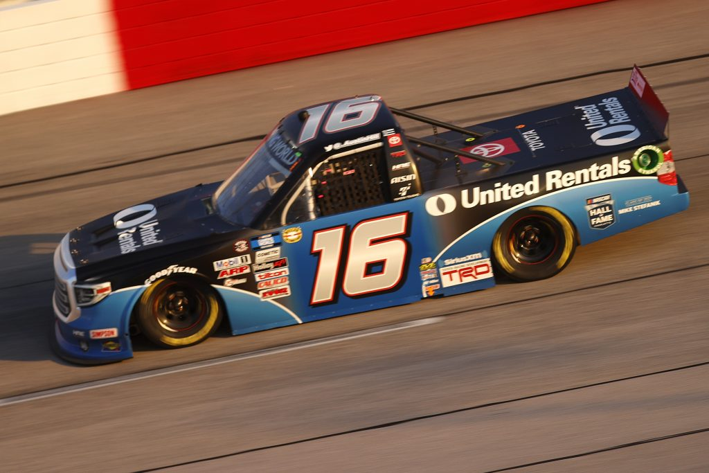DARLINGTON, SOUTH CAROLINA - MAY 07: Austin Hill, driver of the #16 United Rentals Toyota, drives during the NASCAR Camping World Truck Series LiftKits4Less.com 200 at Darlington Raceway on May 07, 2021 in Darlington, South Carolina. (Photo by Chris Graythen/Getty Images) | Getty Images