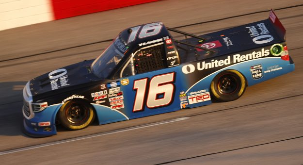 DARLINGTON, SOUTH CAROLINA - MAY 07: Austin Hill, driver of the #16 United Rentals Toyota, drives during the NASCAR Camping World Truck Series LiftKits4Less.com 200 at Darlington Raceway on May 07, 2021 in Darlington, South Carolina. (Photo by Chris Graythen/Getty Images)   Getty Images