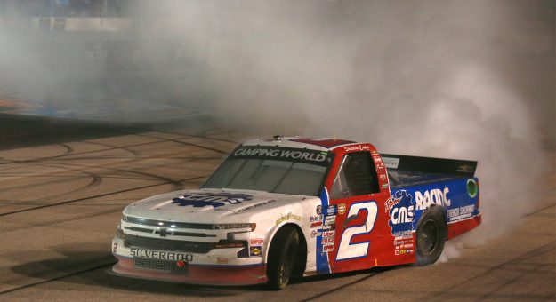 DARLINGTON, SOUTH CAROLINA - MAY 07: Sheldon Creed, driver of the #2 GMS Racing Chevrolet, celebrates with a burnout after winning the NASCAR Camping World Truck Series LiftKits4Less.com 200 at Darlington Raceway on May 07, 2021 in Darlington, South Carolina. (Photo by Sean Gardner/Getty Images) | Getty Images