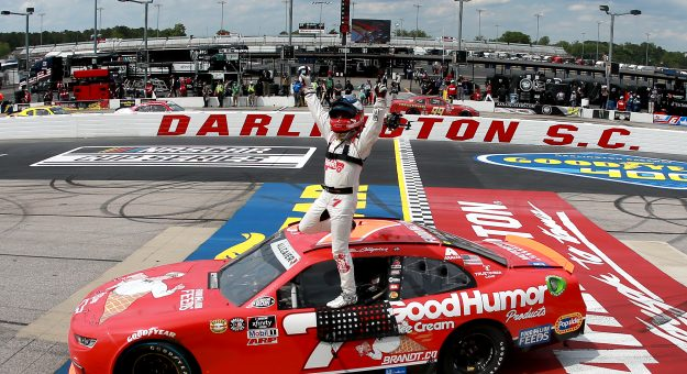 DARLINGTON, SOUTH CAROLINA - MAY 08: Justin Allgaier, driver of the #7 Good Humor Ice Cream Chevrolet, celebrates after winning  the NASCAR Xfinity Series Steakhouse Elite 200 at Darlington Raceway on May 08, 2021 in Darlington, South Carolina. (Photo by Sean Gardner/Getty Images)   Getty Images
