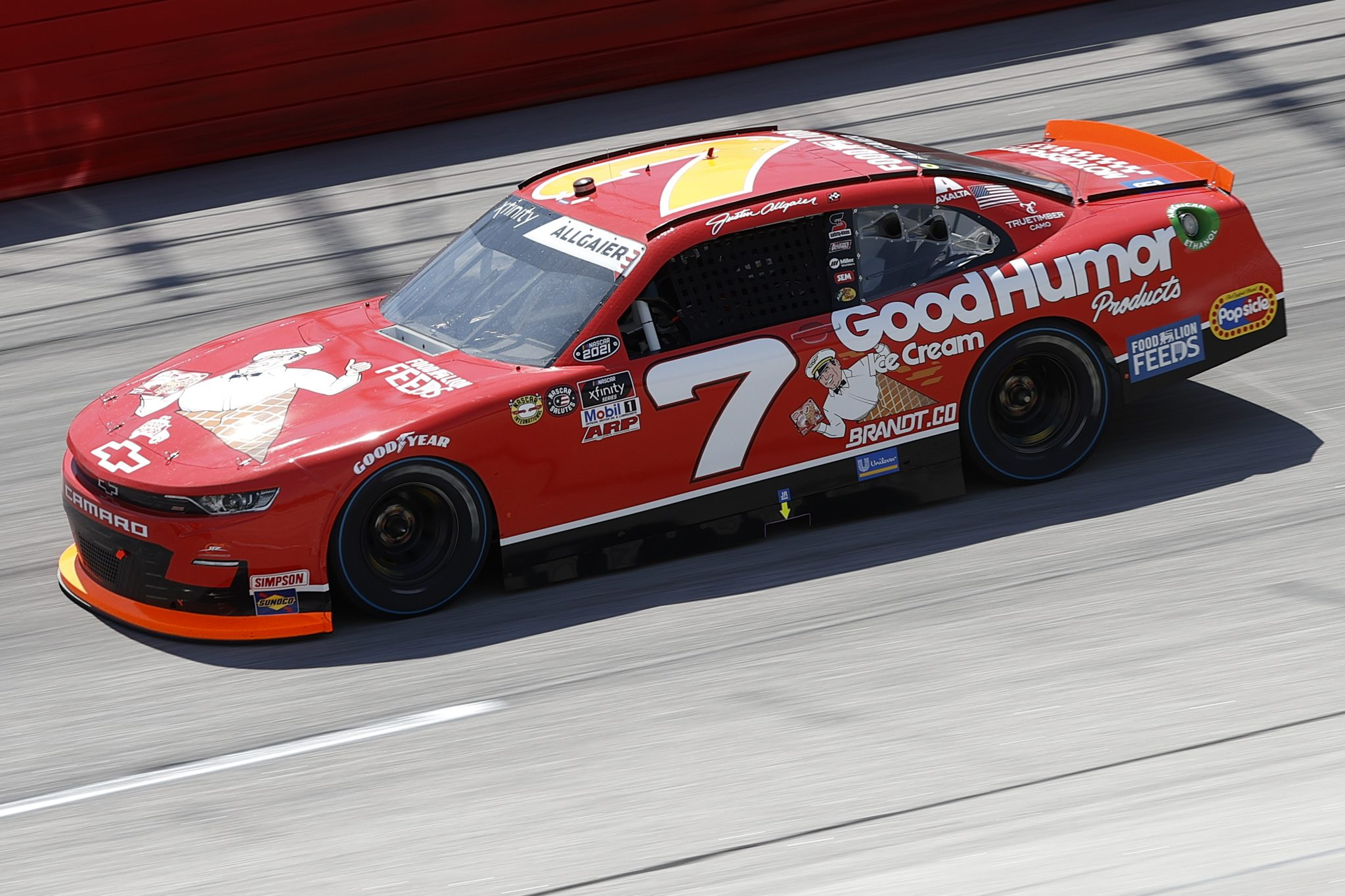 DARLINGTON, SOUTH CAROLINA - MAY 08: Justin Allgaier, driver of the #7 Good Humor Ice Cream Chevrolet, drives during the NASCAR Xfinity Series Steakhouse Elite 200 at Darlington Raceway on May 08, 2021 in Darlington, South Carolina. (Photo by Chris Graythen/Getty Images) | Getty Images