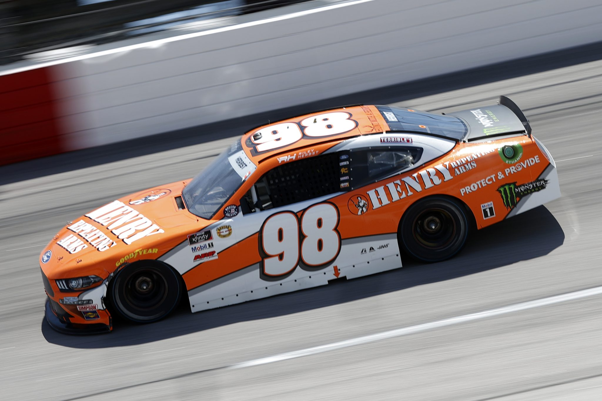 DARLINGTON, SOUTH CAROLINA - MAY 08: Riley Herbst, driver of the #98 Henry Repeating Arms Ford, drives during the NASCAR Xfinity Series Steakhouse Elite 200 at Darlington Raceway on May 08, 2021 in Darlington, South Carolina. (Photo by Chris Graythen/Getty Images) | Getty Images