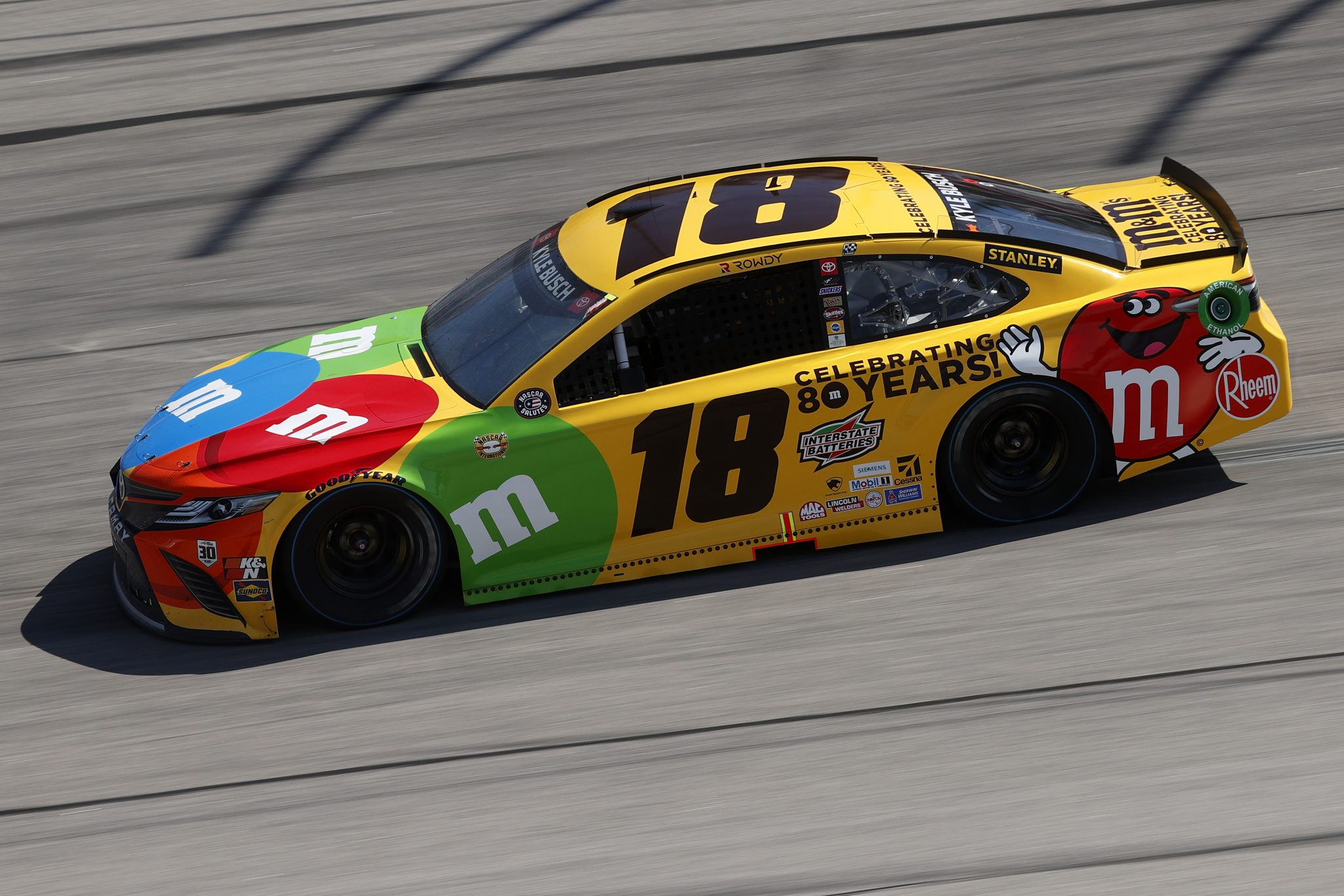 DARLINGTON, SOUTH CAROLINA - MAY 09: Kyle Busch, driver of the #18 M&M's Toyota, drives during the NASCAR Cup Series Goodyear 400 at Darlington Raceway on May 09, 2021 in Darlington, South Carolina. (Photo by Chris Graythen/Getty Images) | Getty Images