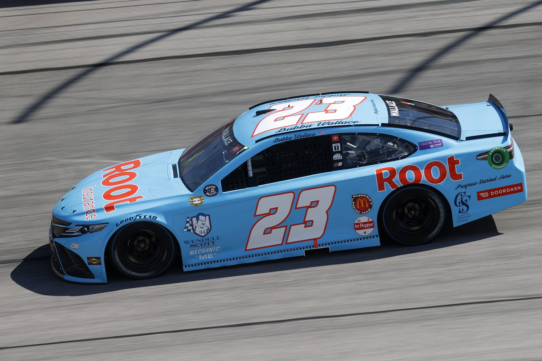 DARLINGTON, SOUTH CAROLINA - MAY 09: Bubba Wallace, driver of the #23 Root Insurance Toyota, drives during the NASCAR Cup Series Goodyear 400 at Darlington Raceway on May 09, 2021 in Darlington, South Carolina. (Photo by Chris Graythen/Getty Images) | Getty Images