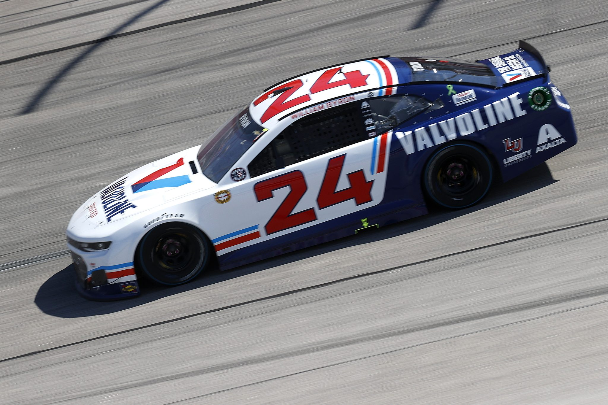 DARLINGTON, SOUTH CAROLINA - MAY 09: William Byron, driver of the #24 Valvoline Throwback Chevrolet, drives during the NASCAR Cup Series Goodyear 400 at Darlington Raceway on May 09, 2021 in Darlington, South Carolina. (Photo by Chris Graythen/Getty Images) | Getty Images