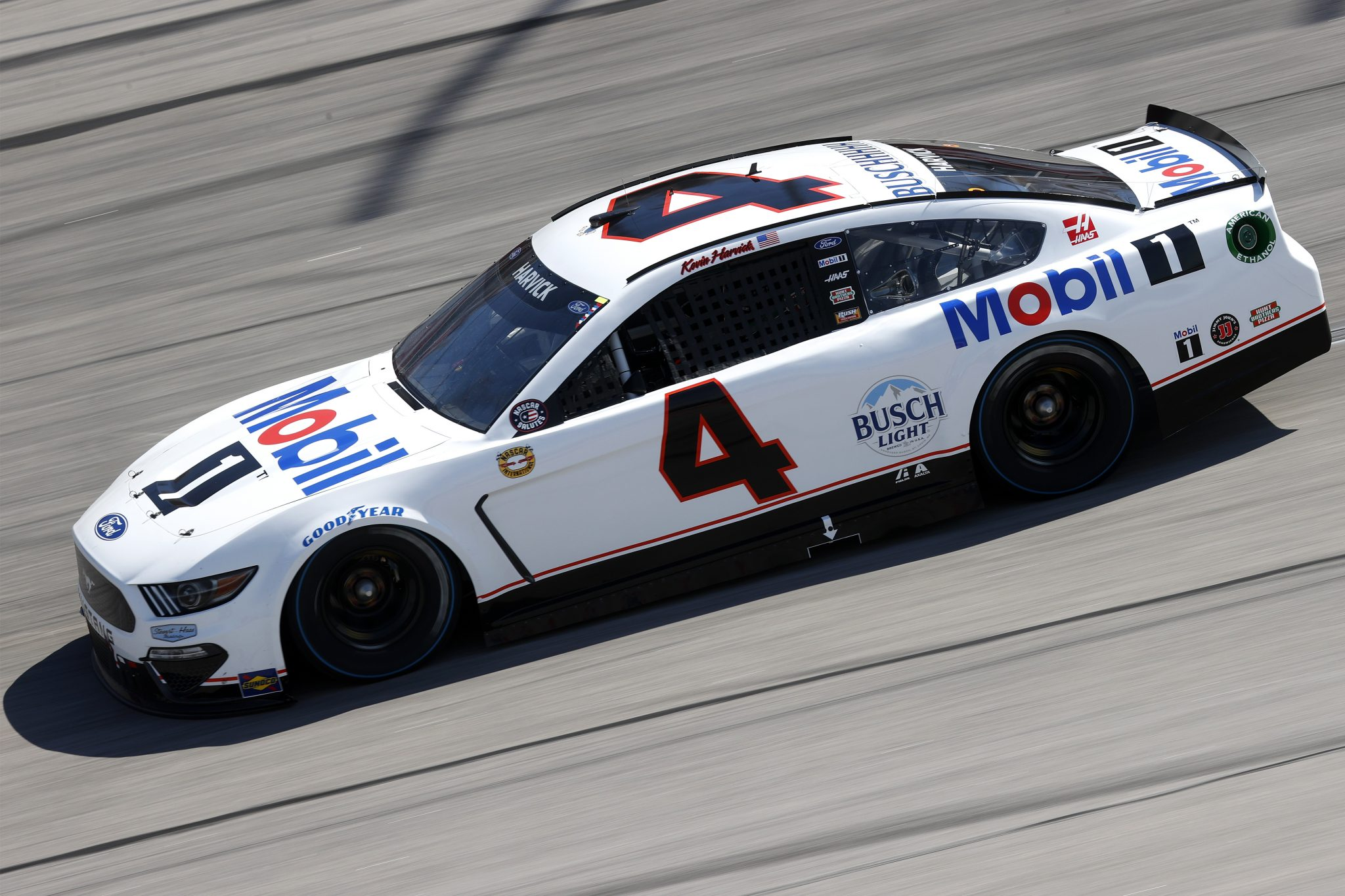 DARLINGTON, SOUTH CAROLINA - MAY 09: Kevin Harvick, driver of the #4 Mobil 1 Throwback Ford, drives during the NASCAR Cup Series Goodyear 400 at Darlington Raceway on May 09, 2021 in Darlington, South Carolina. (Photo by Chris Graythen/Getty Images) | Getty Images