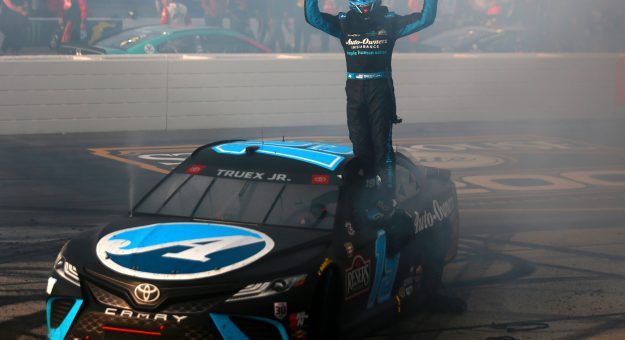 DARLINGTON, SOUTH CAROLINA - MAY 09: Martin Truex Jr., driver of the #19 Auto-Owners Insurance Toyota, celebrates after winning the NASCAR Cup Series Goodyear 400 at Darlington Raceway on May 09, 2021 in Darlington, South Carolina. (Photo by Sean Gardner/Getty Images) | Getty Images