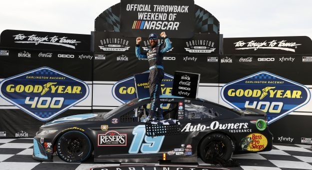 DARLINGTON, SOUTH CAROLINA - MAY 09: Martin Truex Jr., driver of the #19 Auto-Owners Insurance Toyota, celebrates in victory lane after winning the NASCAR Cup Series Goodyear 400 at Darlington Raceway on May 09, 2021 in Darlington, South Carolina. (Photo by Chris Graythen/Getty Images)   Getty Images
