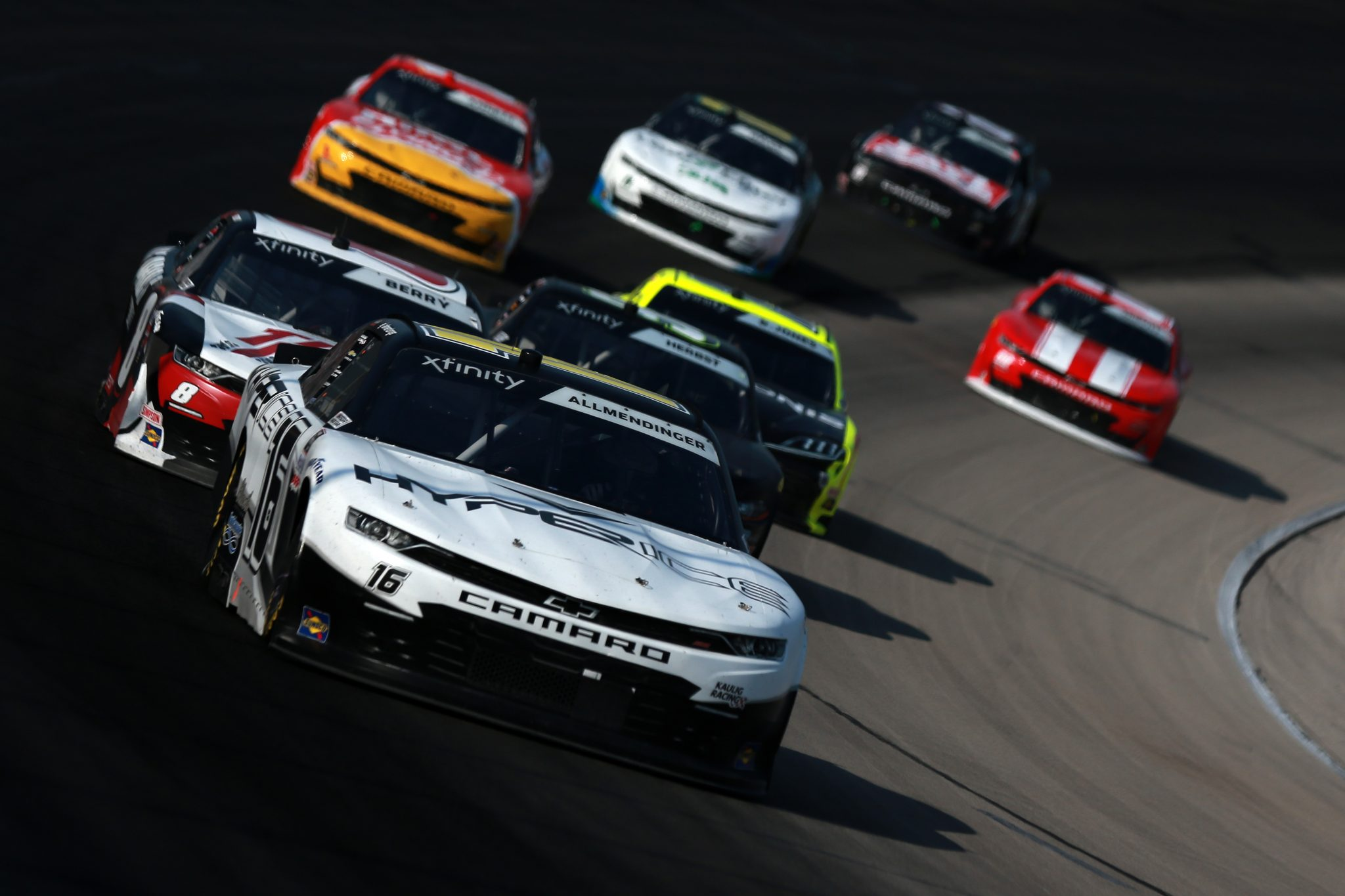 FORT WORTH, TEXAS - JUNE 12: AJ Allmendinger, driver of the #16 Hyperice Chevrolet, leads the field during the NASCAR Xfinity Series Alsco Uniforms 250 at Texas Motor Speedway on June 12, 2021 in Fort Worth, Texas. (Photo by Sean Gardner/Getty Images) | Getty Images