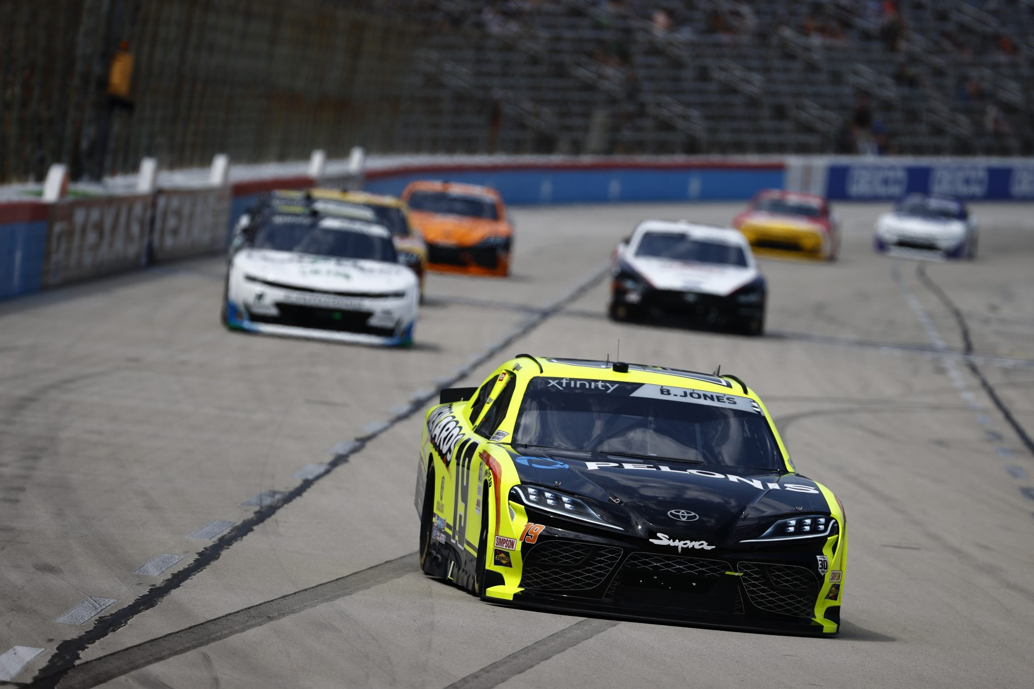 FORT WORTH, TEXAS - JUNE 12: Brandon Jones, driver of the #19 Menards/Pelonis Toyota, drives during the NASCAR Xfinity Series Alsco Uniforms 250 at Texas Motor Speedway on June 12, 2021 in Fort Worth, Texas. (Photo by Jared C. Tilton/Getty Images) | Getty Images