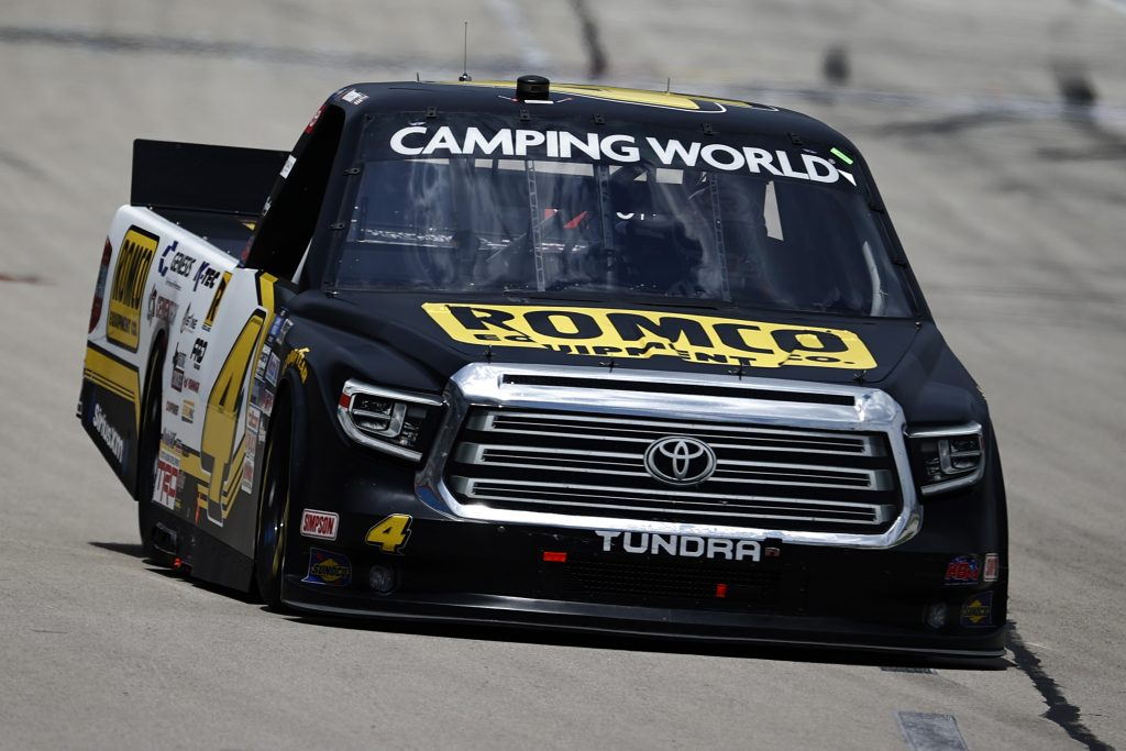 FORT WORTH, TEXAS - JUNE 12: John Hunter Nemechek, driver of the #4 ROMCO Toyota, drives during the NASCAR Camping World Truck Series SpeedyCash.com 220 at Texas Motor Speedway on June 12, 2021 in Fort Worth, Texas. (Photo by Jared C. Tilton/Getty Images)   Getty Images