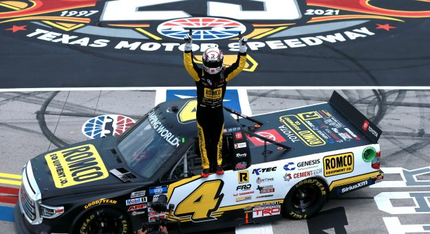 FORT WORTH, TEXAS - JUNE 12: John Hunter Nemechek, driver of the #4 ROMCO Toyota, celebrates after winning the NASCAR Camping World Truck Series SpeedyCash.com 220 at Texas Motor Speedway on June 12, 2021 in Fort Worth, Texas. (Photo by Sean Gardner/Getty Images) | Getty Images