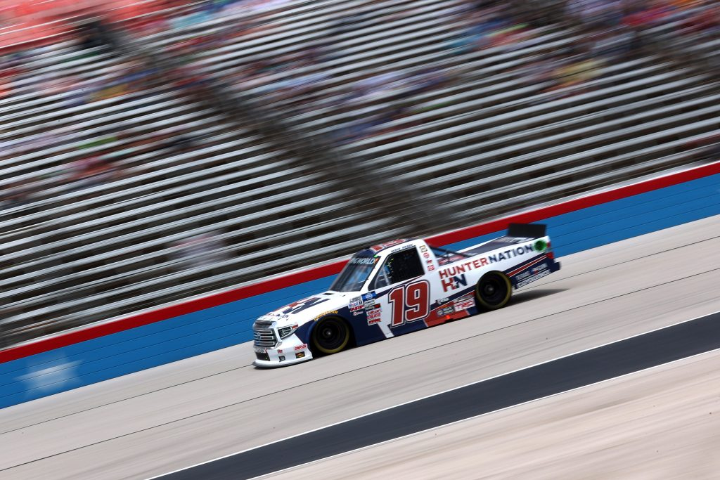 FORT WORTH, TEXAS - JUNE 12: Derek Kraus, driver of the #19 HunterNation Toyota, drives during the NASCAR Camping World Truck Series SpeedyCash.com 220 at Texas Motor Speedway on June 12, 2021 in Fort Worth, Texas. (Photo by Carmen Mandato/Getty Images) | Getty Images