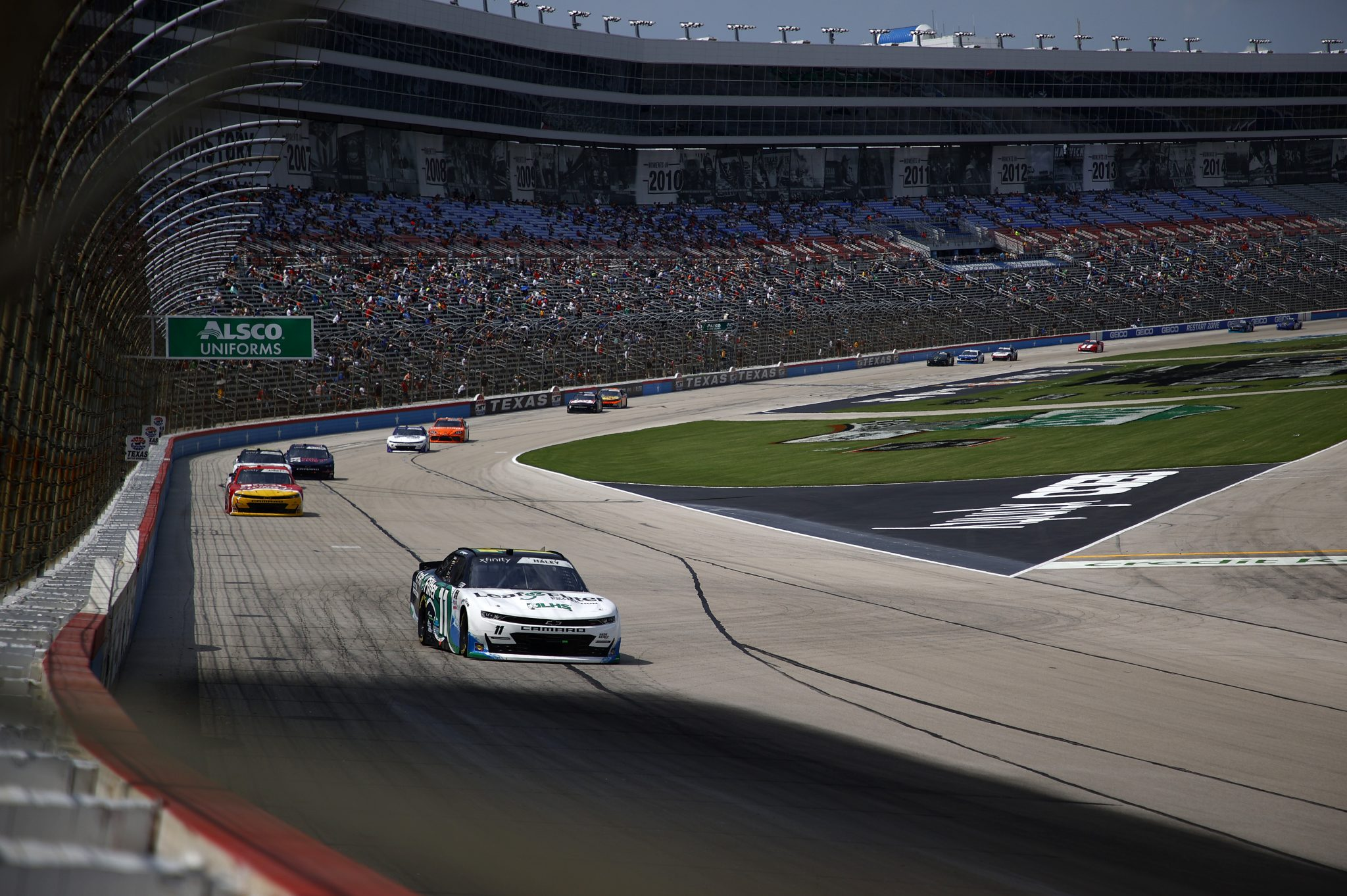 FORT WORTH, TEXAS - JUNE 12: Justin Haley, driver of the #11 LeafFilter Gutter Protection Chevrolet, drives during the NASCAR Xfinity Series Alsco Uniforms 250 at Texas Motor Speedway on June 12, 2021 in Fort Worth, Texas. (Photo by Jared C. Tilton/Getty Images) | Getty Images