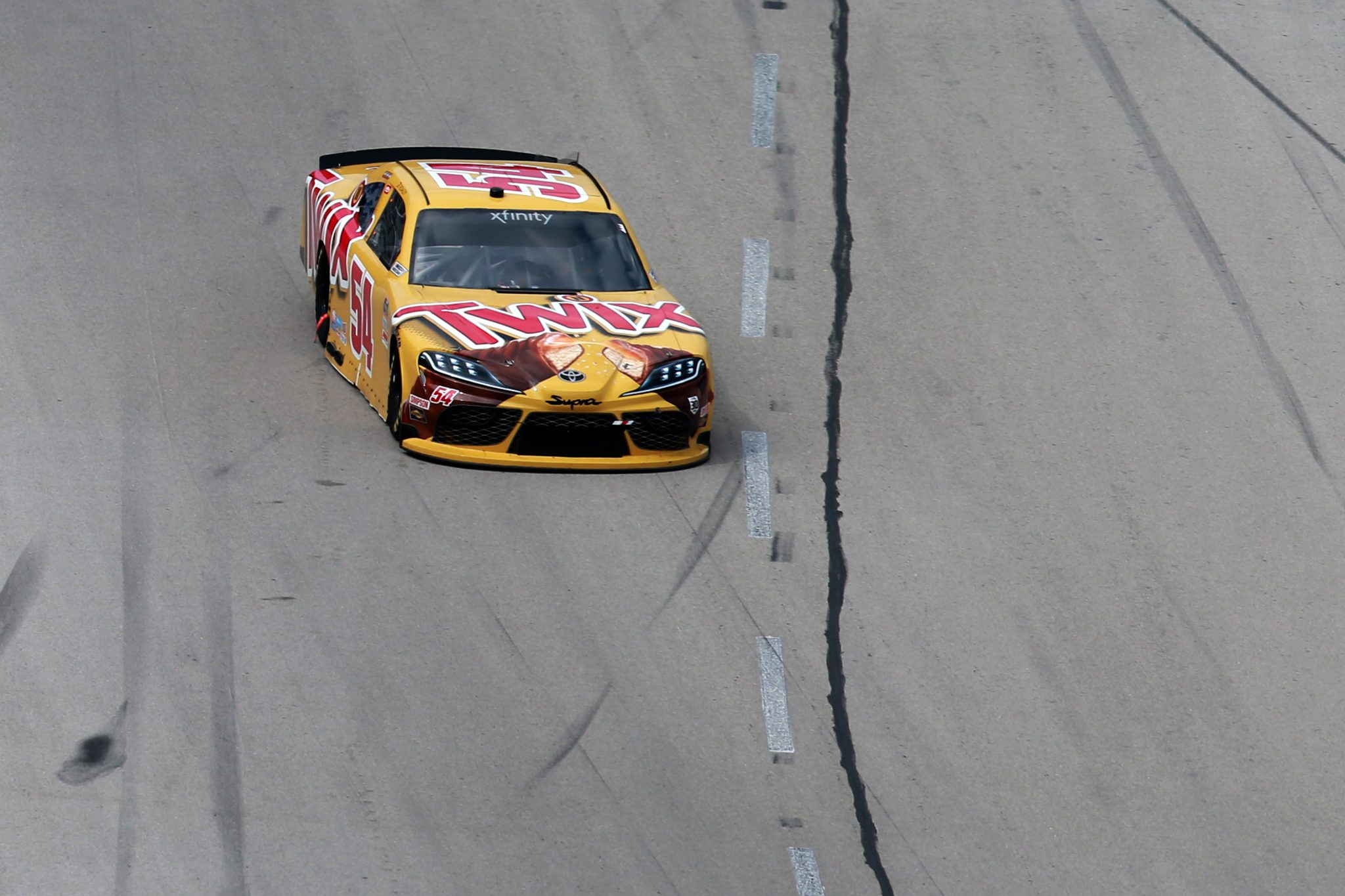 FORT WORTH, TEXAS - JUNE 12: Kyle Busch, driver of the #54 Twix Toyota, drives during the NASCAR Xfinity Series Alsco Uniforms 250 at Texas Motor Speedway on June 12, 2021 in Fort Worth, Texas. (Photo by Sean Gardner/Getty Images) | Getty Images