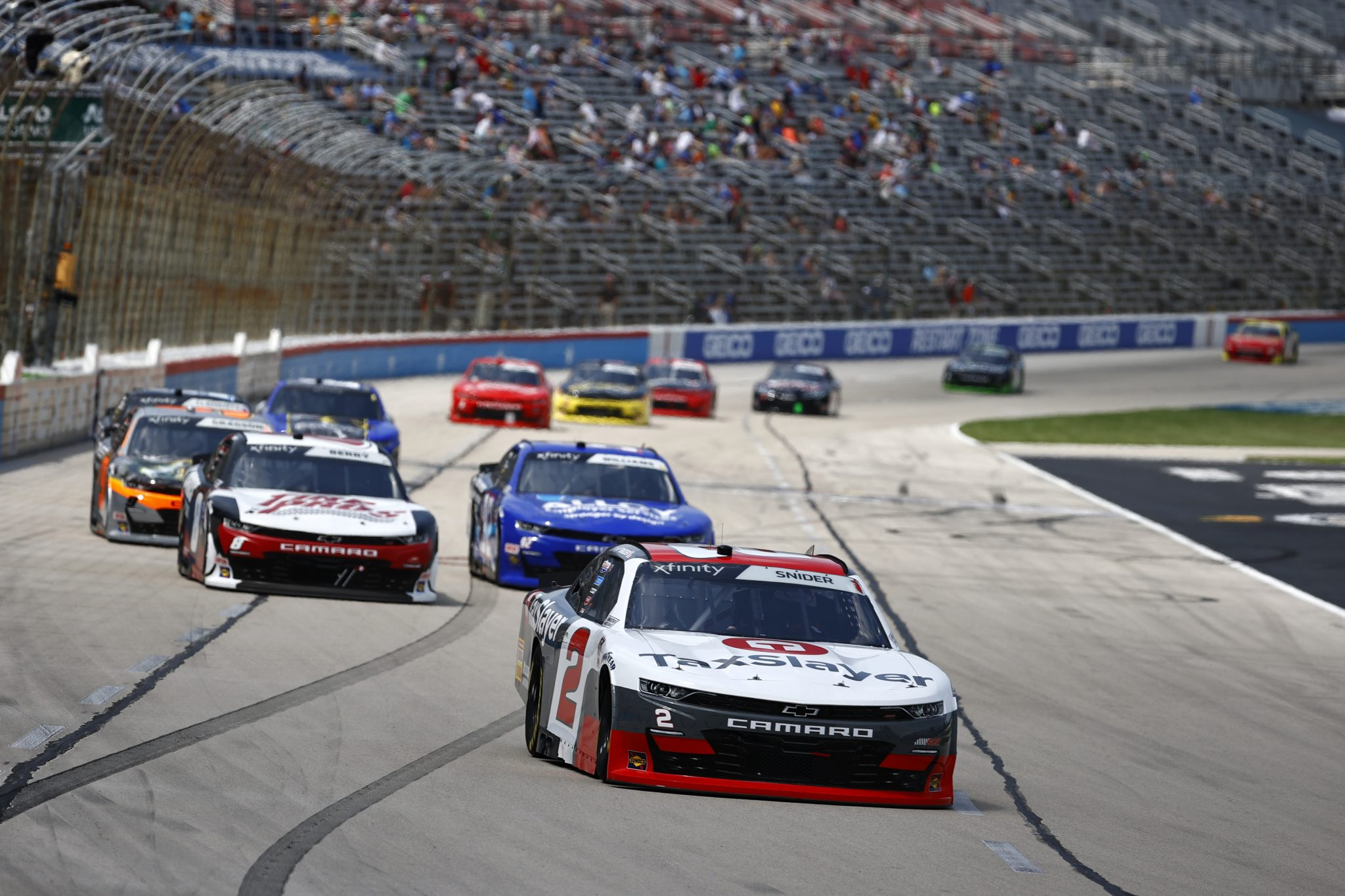 FORT WORTH, TEXAS - JUNE 12: Myatt Snider, driver of the #2 TaxSlayer Chevrolet,leads the field during the NASCAR Xfinity Series Alsco Uniforms 250 at Texas Motor Speedway on June 12, 2021 in Fort Worth, Texas. (Photo by Jared C. Tilton/Getty Images) | Getty Images