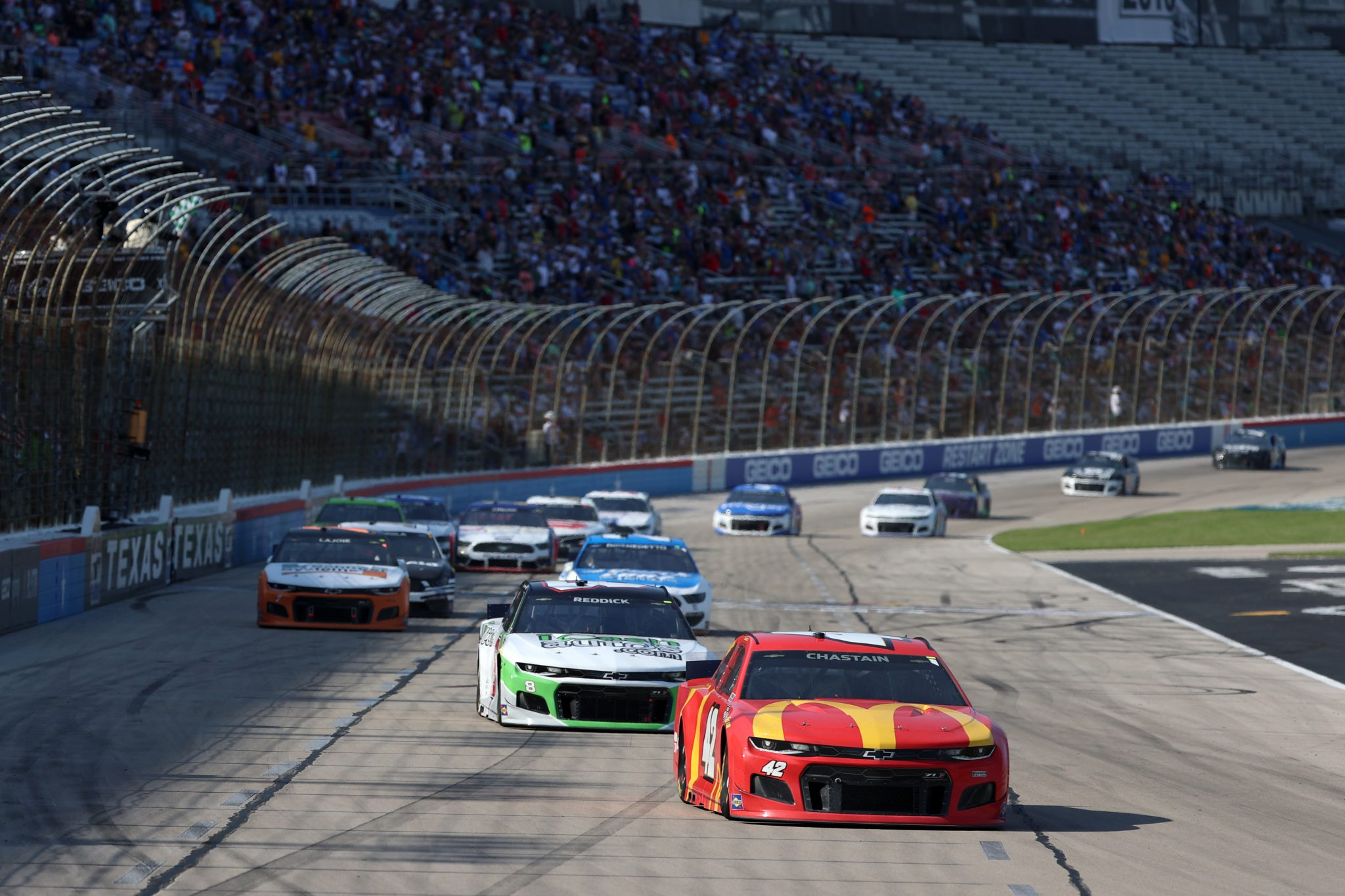 FORT WORTH, TEXAS - JUNE 13: Ross Chastain, driver of the #42 McDonald's Chevrolet, leads the field during the NASCAR All-Star Open at Texas Motor Speedway on June 13, 2021 in Fort Worth, Texas. (Photo by Carmen Mandato/Getty Images) | Getty Images