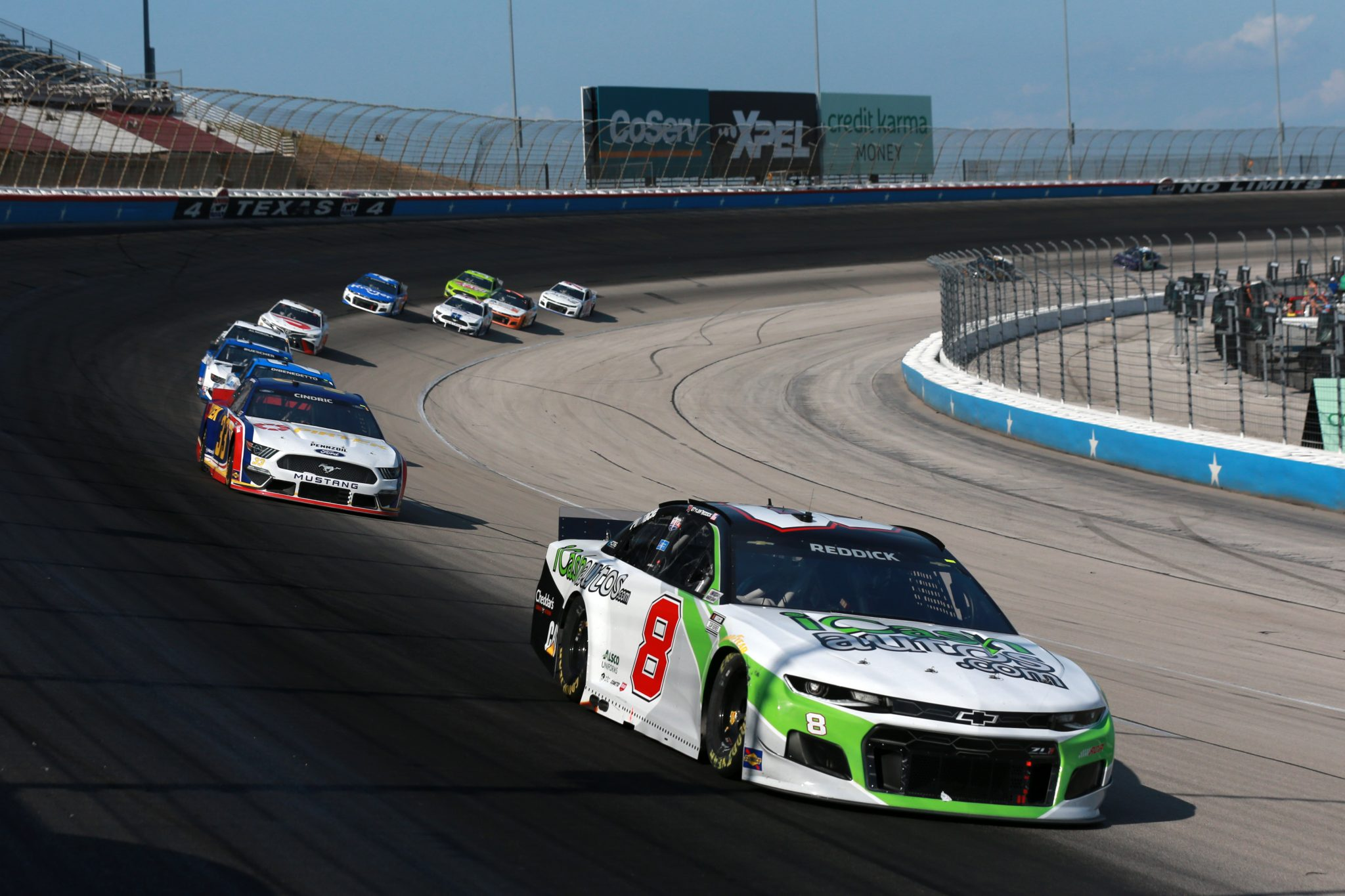 FORT WORTH, TEXAS - JUNE 13: Tyler Reddick, driver of the #8 iCashautos/I Am Second Chevrolet, leads the field during the NASCAR All-Star Open at Texas Motor Speedway on June 13, 2021 in Fort Worth, Texas. (Photo by Sean Gardner/Getty Images)   Getty Images