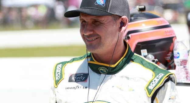 LEXINGTON, OHIO - JUNE 05: Andy Lally, driver of the #23 UCC/Energy Air Inc Chevrolet, waits on the grid prior to the NASCAR Xfinity Series B&L Transport 170 at Mid-Ohio Sports Car Course on June 05, 2021 in Lexington, Ohio. (Photo by Sean Gardner/Getty Images)   Getty Images