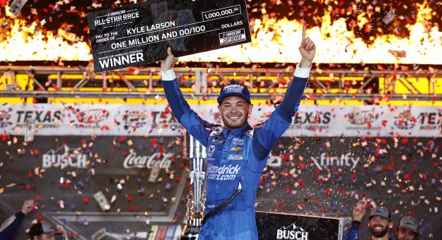 FORT WORTH, TEXAS - JUNE 13: Kyle Larson, driver of the #5 HendrickCars.com Chevrolet, celebrates in victory lane after winning the NASCAR All-Star Race at Texas Motor Speedway on June 13, 2021 in Fort Worth, Texas. (Photo by Chris Graythen/Getty Images) | Getty Images
