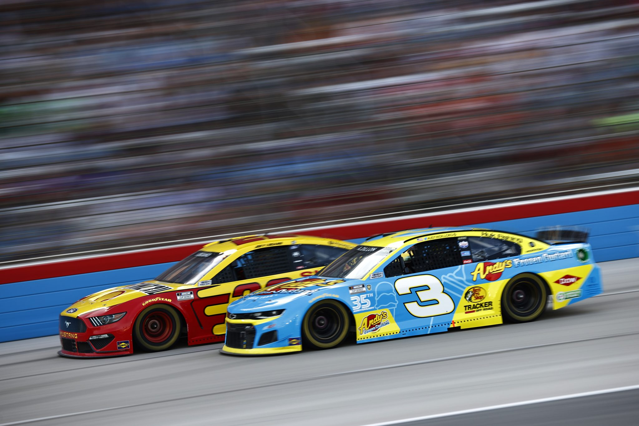 FORT WORTH, TEXAS - JUNE 13: Austin Dillon, driver of the #3 Andy's Frozen Custard Chevrolet, Joey Logano, driver of the #22 Shell Pennzoil Ford, race during the NASCAR All-Star Race at Texas Motor Speedway on June 13, 2021 in Fort Worth, Texas. (Photo by Jared C. Tilton/Getty Images)   Getty Images