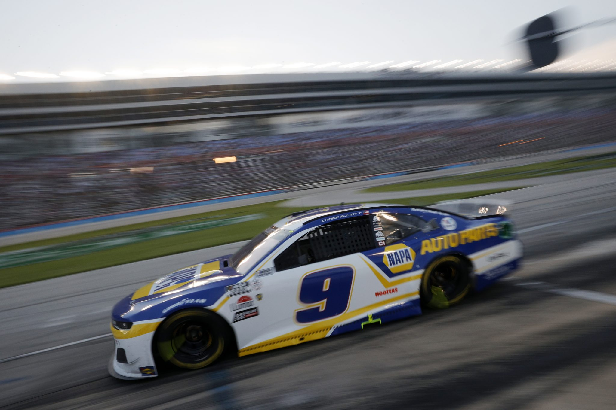 FORT WORTH, TEXAS - JUNE 13: Chase Elliott, driver of the #9 NAPA Auto Parts Chevrolet, exits pit road during the NASCAR All-Star Race at Texas Motor Speedway on June 13, 2021 in Fort Worth, Texas. (Photo by Chris Graythen/Getty Images)   Getty Images