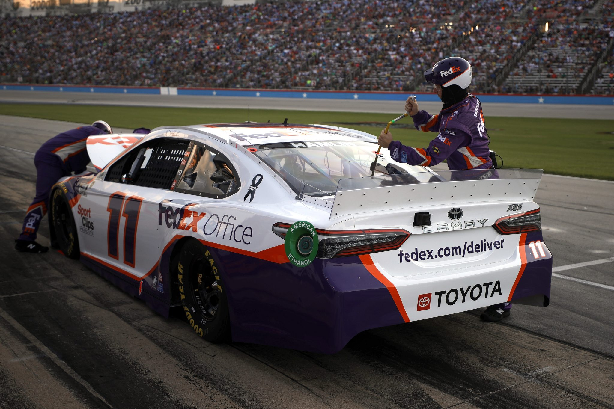 FORT WORTH, TEXAS - JUNE 13: Denny Hamlin, driver of the #11 FedEx Office Toyota, pits during the NASCAR All-Star Race at Texas Motor Speedway on June 13, 2021 in Fort Worth, Texas. (Photo by Chris Graythen/Getty Images)   Getty Images
