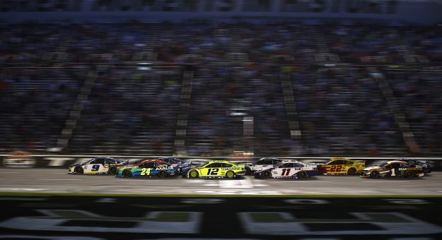 FORT WORTH, TEXAS - JUNE 13: Chase Elliott, driver of the #9 NAPA Auto Parts Chevrolet, William Byron, driver of the #24 Axalta Chevrolet, Ryan Blaney, driver of the #12 Menards/Wrangler Ford, and Denny Hamlin, driver of the #11 FedEx Office Toyota, race during the NASCAR All-Star Race at Texas Motor Speedway on June 13, 2021 in Fort Worth, Texas. (Photo by Jared C. Tilton/Getty Images) | Getty Images