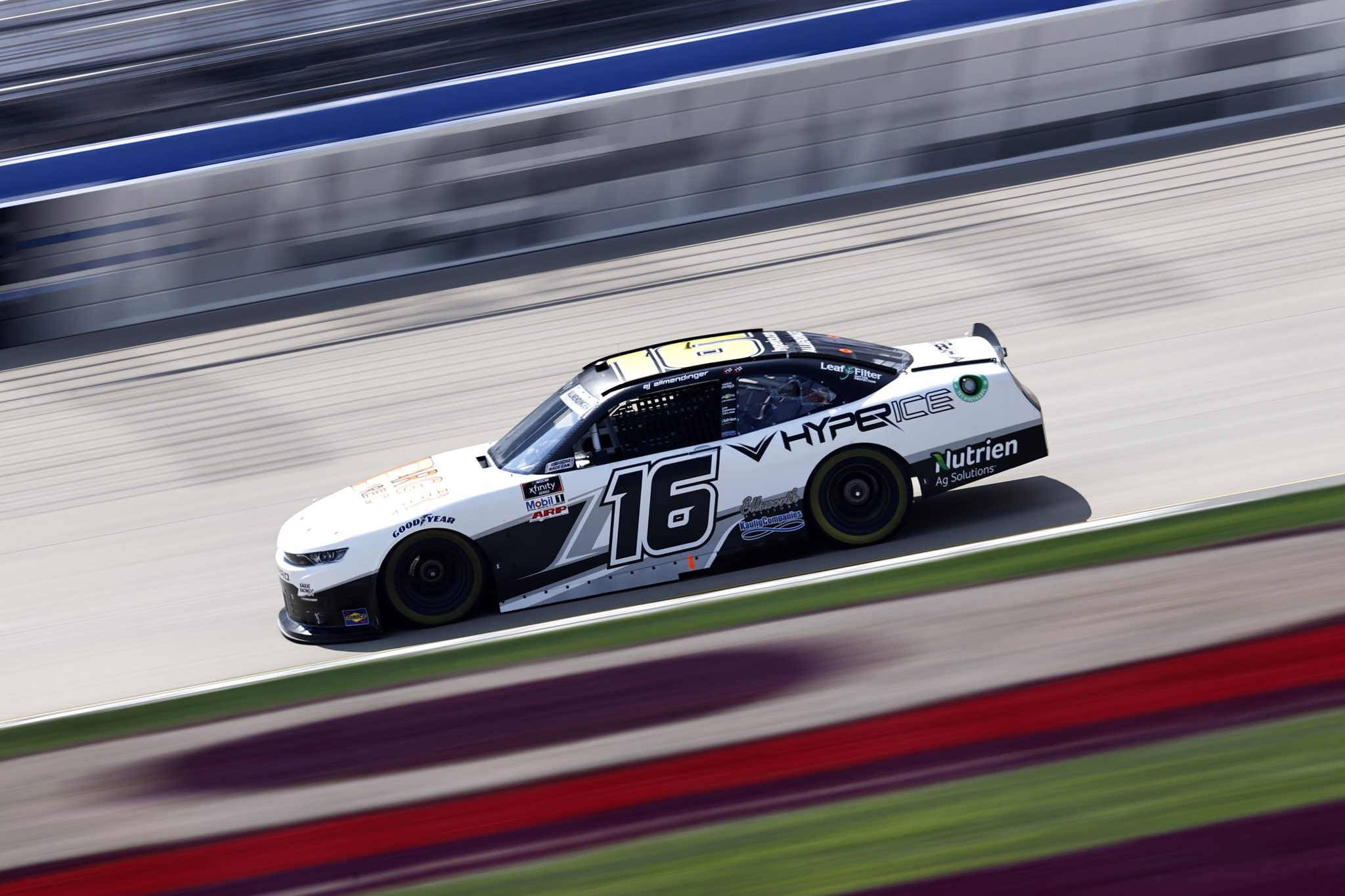 LEBANON, TENNESSEE - JUNE 18: AJ Allmendinger, driver of the #16 Hyperice Chevrolet, drives during practice for the NASCAR Xfinity Series Tennessee Lottery 250 at Nashville Superspeedway on June 18, 2021 in Lebanon, Tennessee. (Photo by Jared C. Tilton/Getty Images) | Getty Images