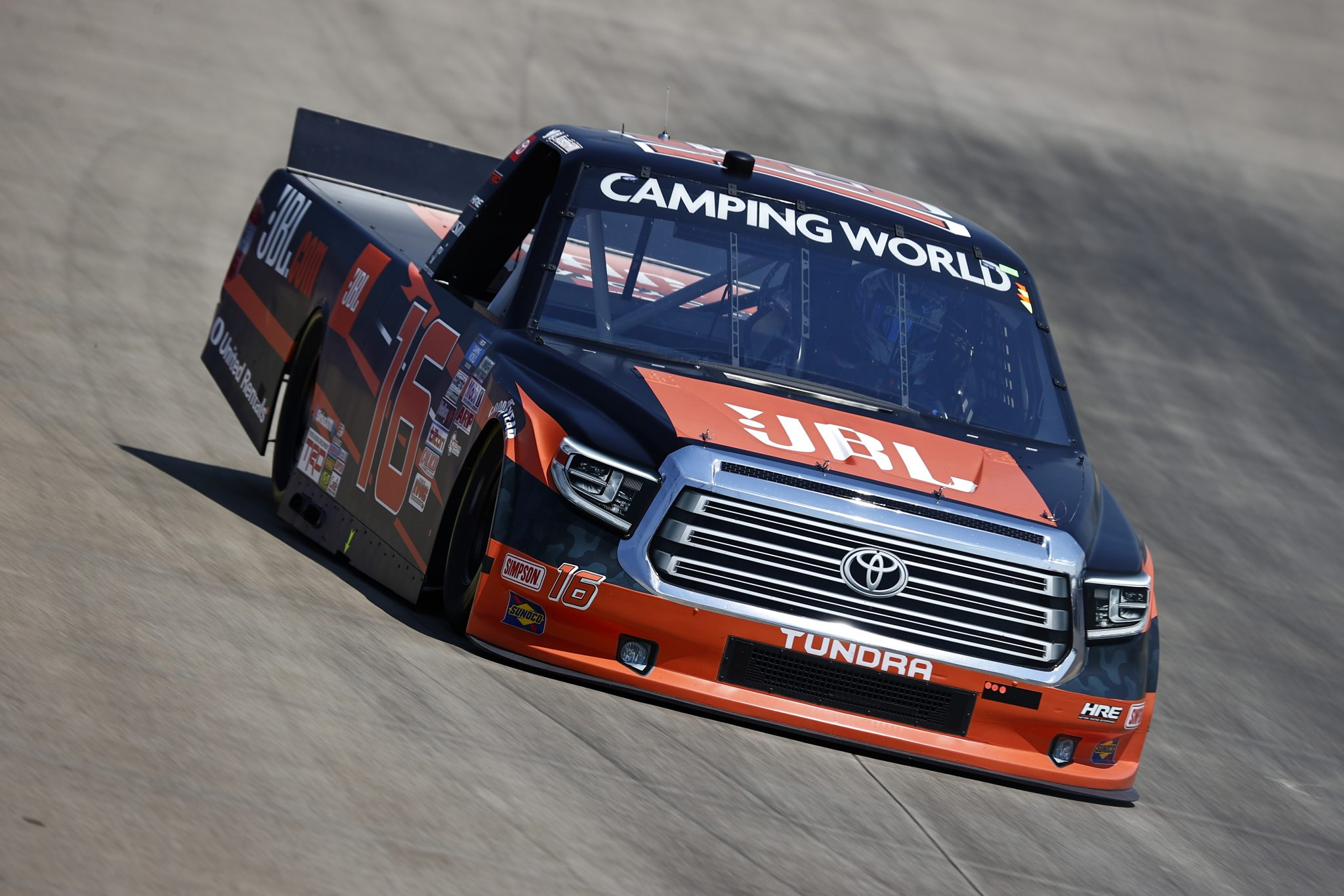 LEBANON, TENNESSEE - JUNE 18: Austin Hill, driver of the #16 JBL Toyota, drives during practice for the NASCAR Camping World Truck Series Rackley Roofing 200 at Nashville Superspeedway on June 18, 2021 in Lebanon, Tennessee. (Photo by Jared C. Tilton/Getty Images) | Getty Images