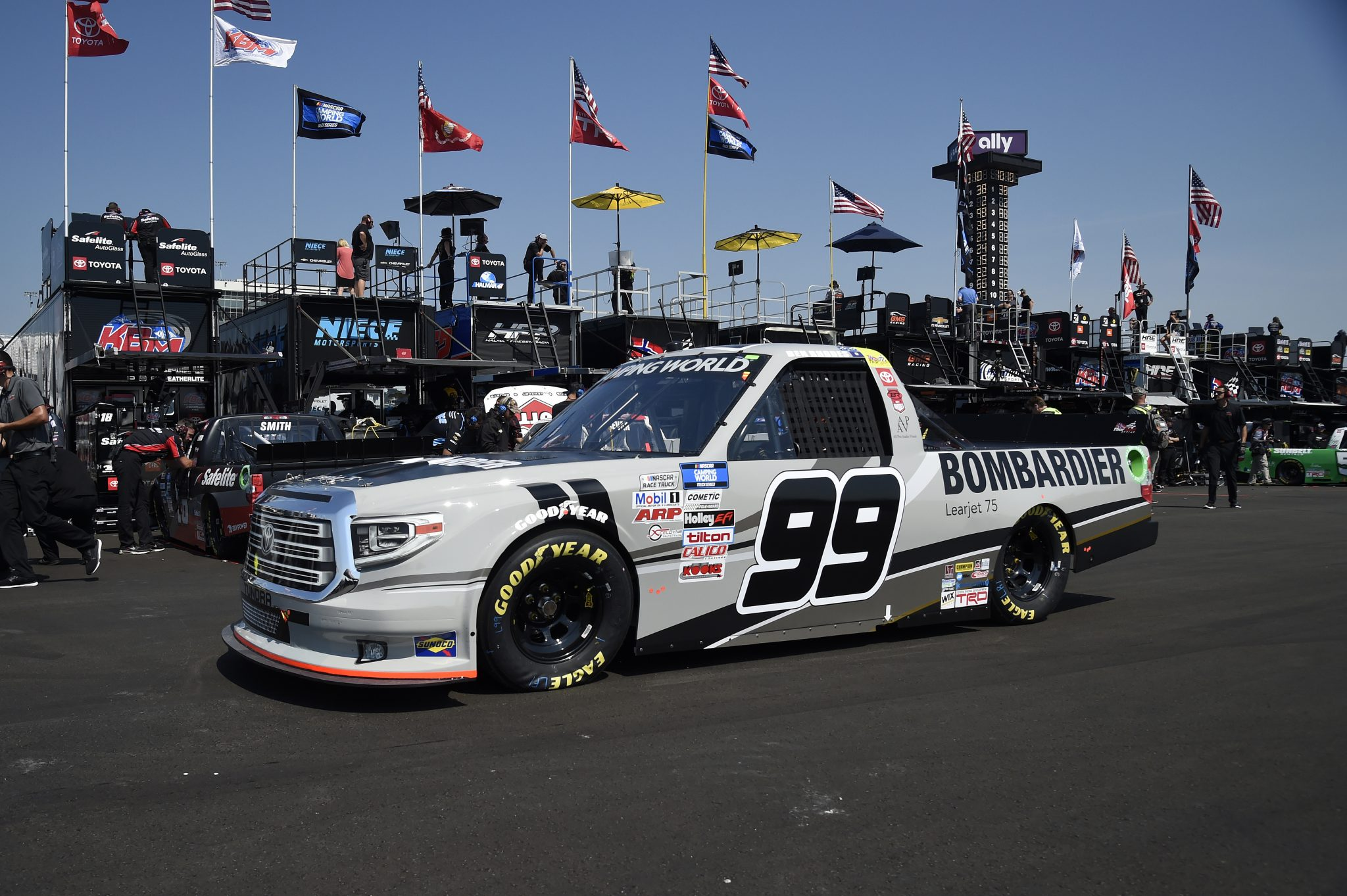 LEBANON, TENNESSEE - JUNE 18: Ben Rhodes, driver of the #99 Bombardier LearJet 75 Toyota, drives in the garage area during practice for the NASCAR Camping World Truck Series Rackley Roofing 200 at Nashville Superspeedway on June 18, 2021 in Lebanon, Tennessee. (Photo by Logan Riely/Getty Images) | Getty Images