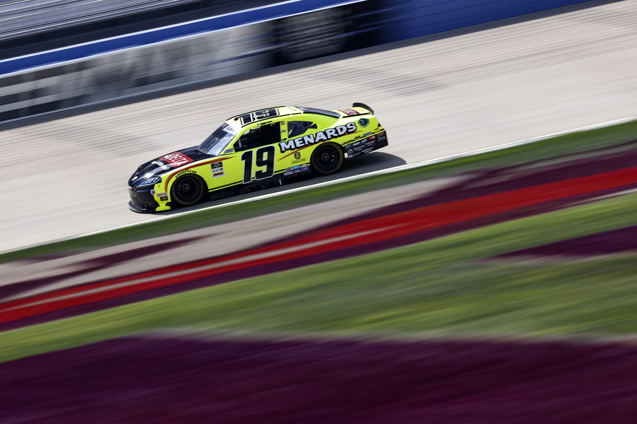 LEBANON, TENNESSEE - JUNE 18: Brandon Jones, driver of the #19 Menards/Delta Faucets Toyota, drives during practice for the NASCAR Xfinity Series Tennessee Lottery 250 at Nashville Superspeedway on June 18, 2021 in Lebanon, Tennessee. (Photo by Jared C. Tilton/Getty Images) | Getty Images